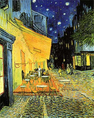 coffe terrace by night. Oil on canvas Vincent Van Gogh from september 1888. In Rijksmuseum Kröller-Müller, Otterio,  original size 81,0 x 65,5 cmt